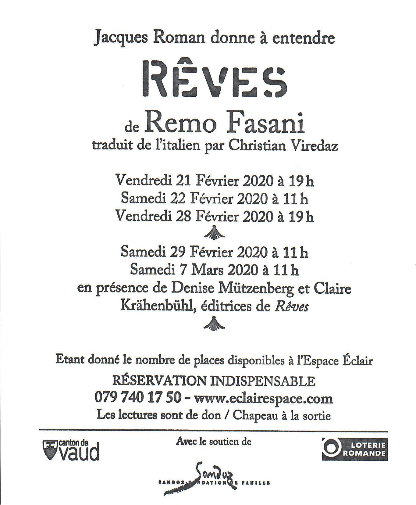 Rêves de Remo Fasani